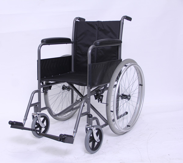 Self-Propelled Wheelchair with Fixed Full Length Armrest