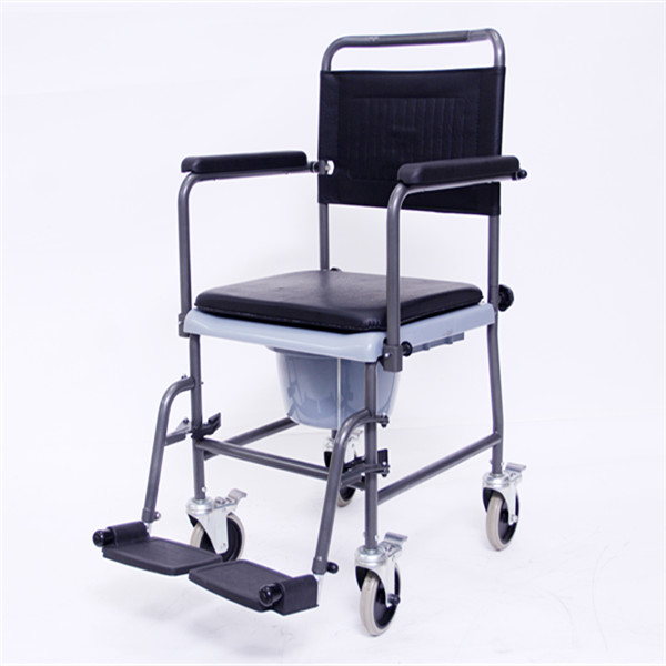 Mobile Commode with Detachable Backrest, Footrests